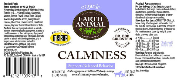 Earth Animal Calmness Organic Herbal Remedy Dog and Cat Supplement, 2 OZ.