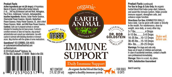 Earth Animal Immune Support Organic Herbal Remedy Dog and Cat Supplement, 2 OZ.