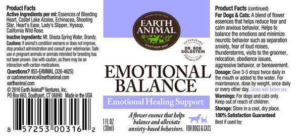 Earth Animal Emotional Balance Herbal Remedy Dog and Cat Supplement, 1 OZ.