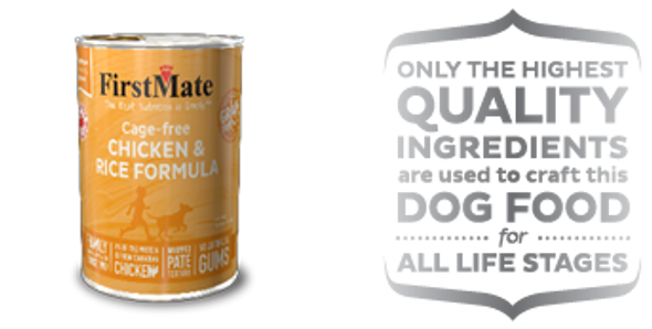 FirstMate Cage Free Chicken & Rice Formula Dog Food 12.2 OZ., Case of 12