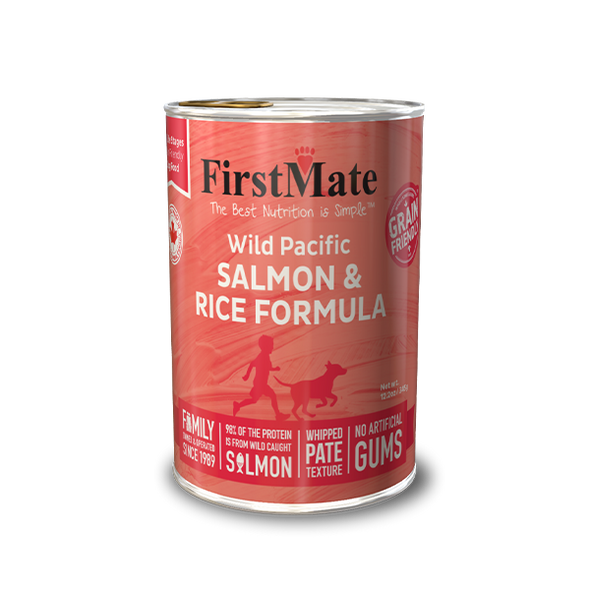 FirstMate Wild Pacific Salmon & Rice Formula Dog Food 12.2 OZ., Case of 12