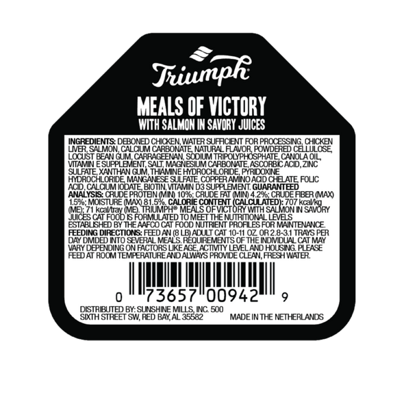 Triumph Meals Of Victory with Salmon Cat Food 3.5 OZ., Case of 15