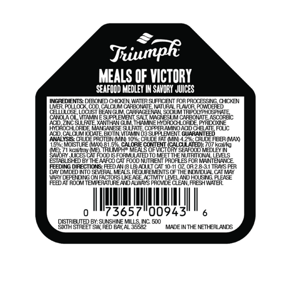 Triumph Meals Of Victory Seafood Medley Cat Food 3.5 OZ., Case of 15