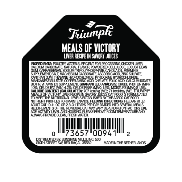 Triumph Meals Of Victory Liver Recipe Cat Food 3.5 OZ., Case of 15