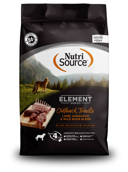 Nutrisource Element Series Outback Trails Recipe Lamb, Kangaroo, & Wild Boar High Animal Protein Dog Food