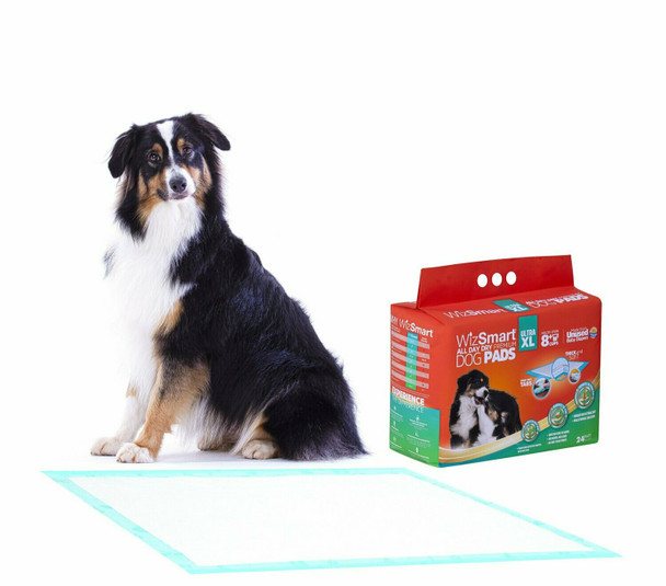 WizSmart Ultra XL All Day Dry Premium Dog and Puppy Training Pads, 8 Cup