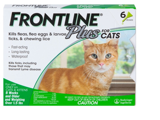Frontline Plus Flea & Tick Protection For Cats, 3 Count