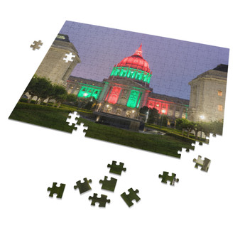 San Francisco City Hall Red, Black, and Red Lighting, Commemorate Juneteenth, June 19, 1865, 252 Piece Puzzle, Home Game, 14 x 11 Inch Puzzle for Adult Children
