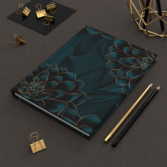 Luxurious Vintage Seamless Floral Print Hardcover Journal Matte - Ruled Line
