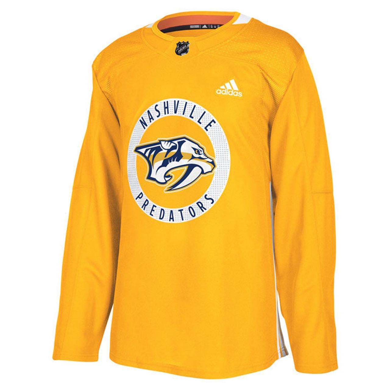 pretty nice e6656 d6be4 Nashville Predators Adidas Authentic Practice Jersey GOLD