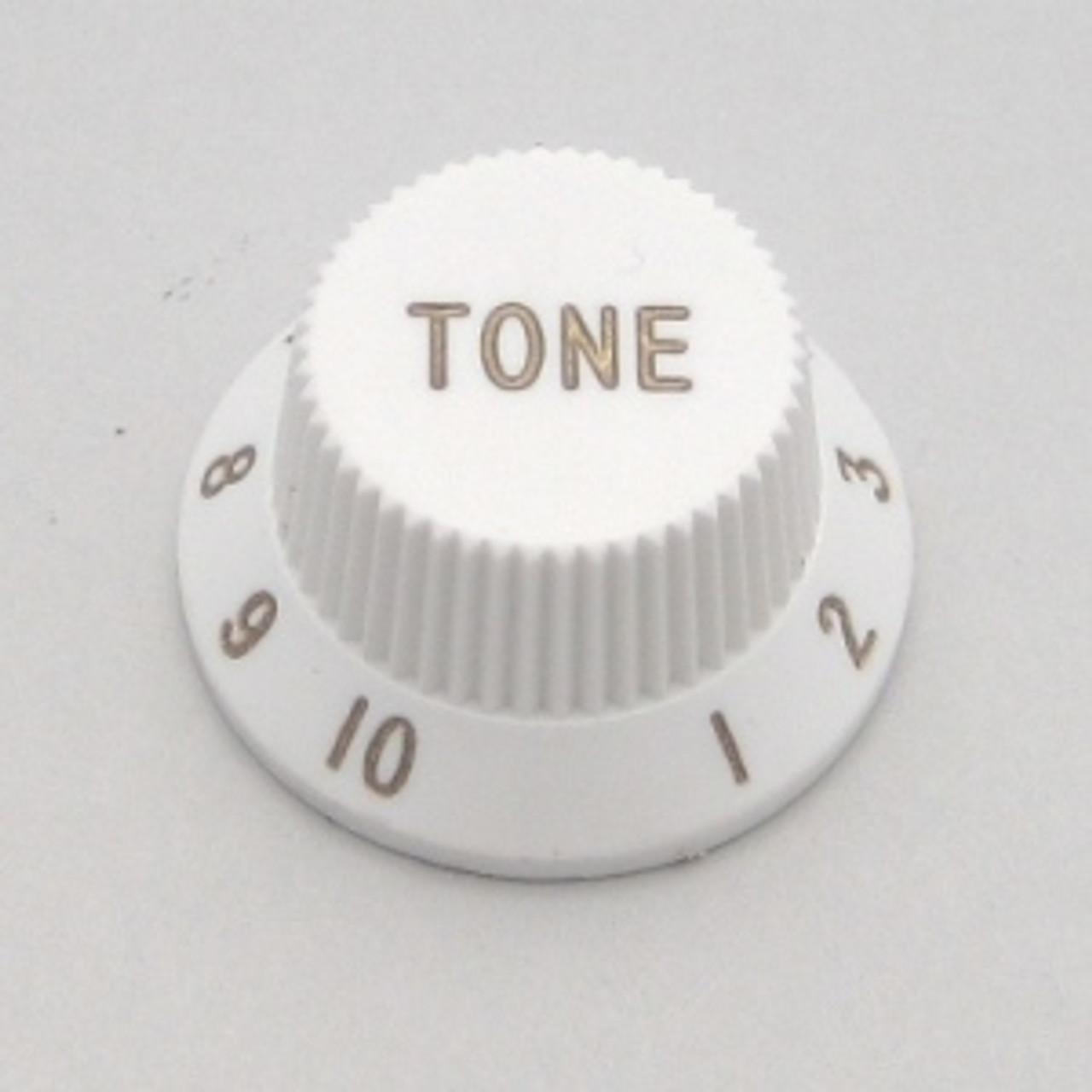 Strat & J-Bass Style Tone Knob w/ Fine Splines-White