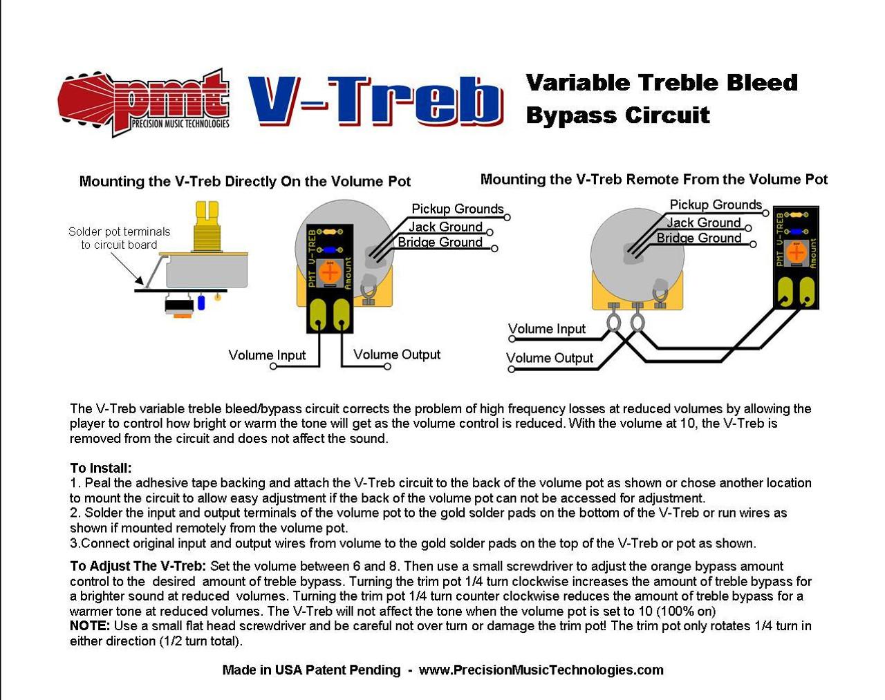 Bourns 250K Audio Pot w/ Variable Treble Bleed Circuit-Fine Spline
