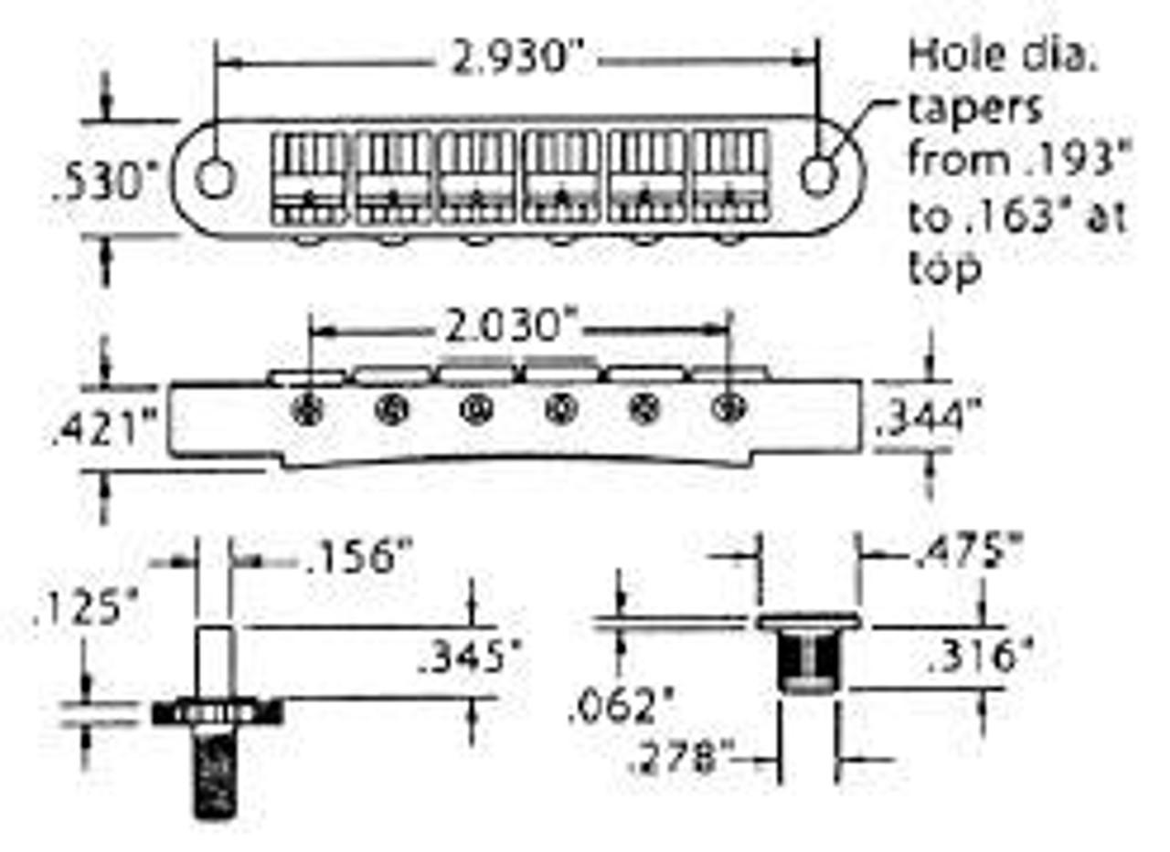TonePros Nashville Tunematic Locking Bridge-Dimensions