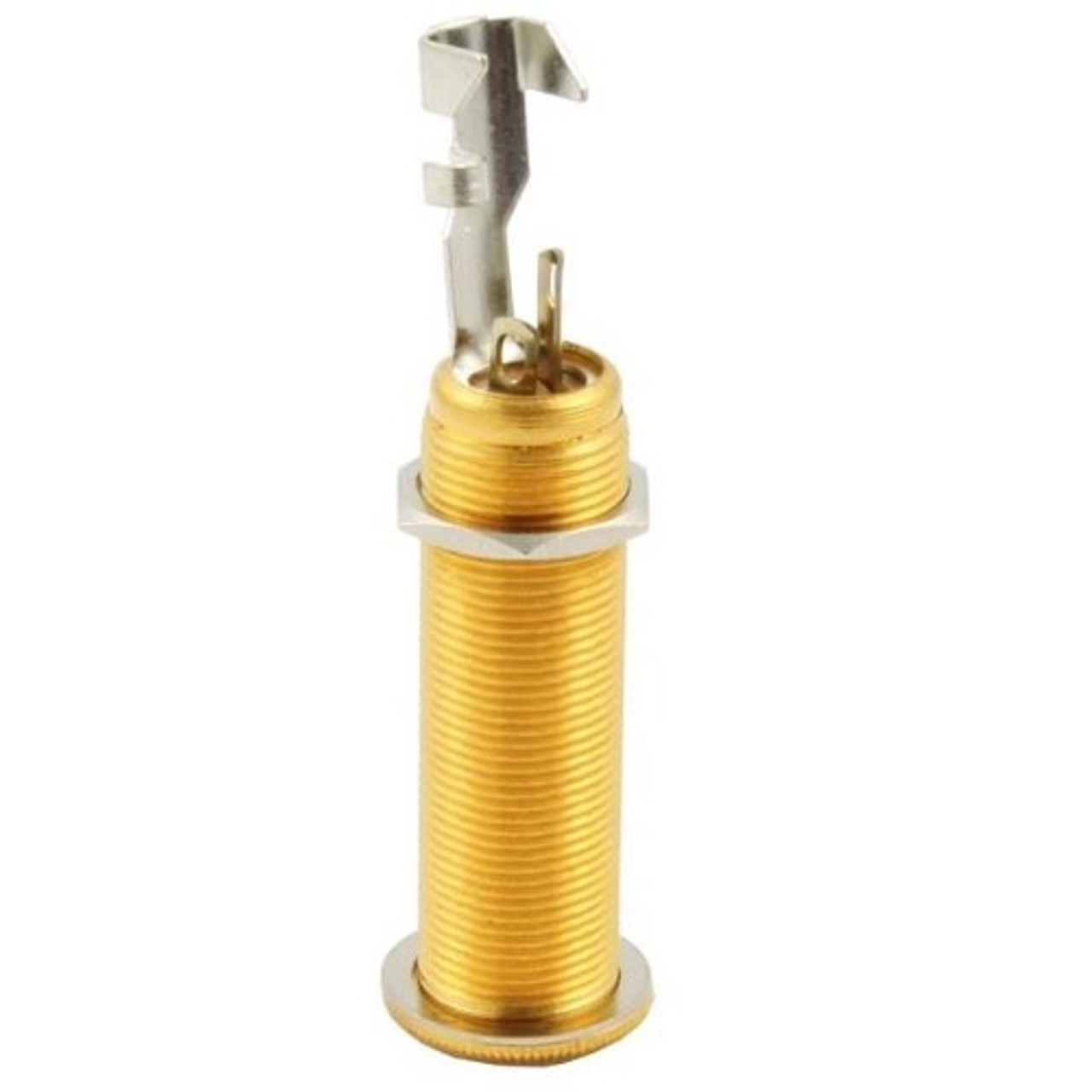 """Gold Switchcraft 1/4"""" Stereo Long Reach Jack Rear"""