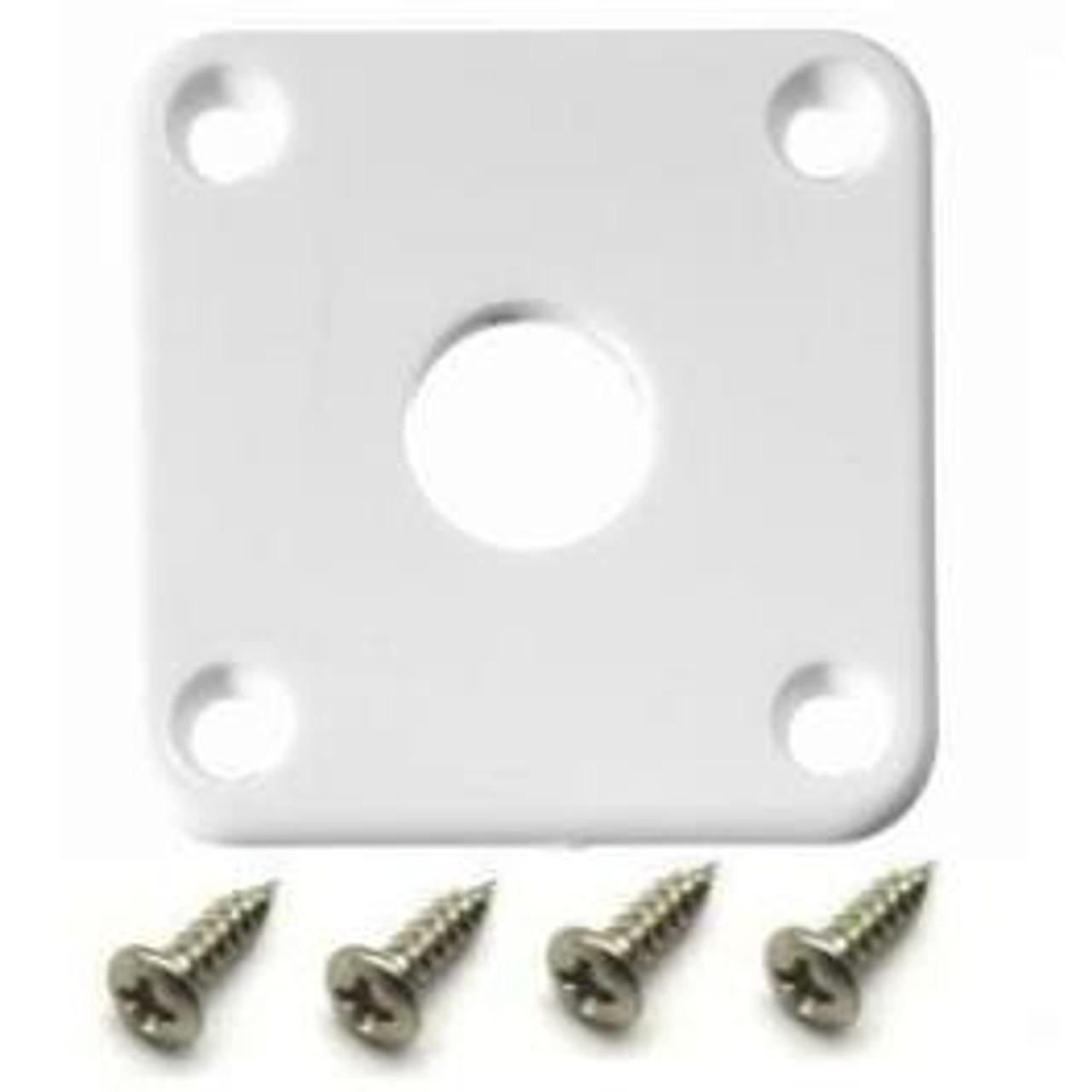 Gibson Style Plastic Jack Plate w/ Screws-White