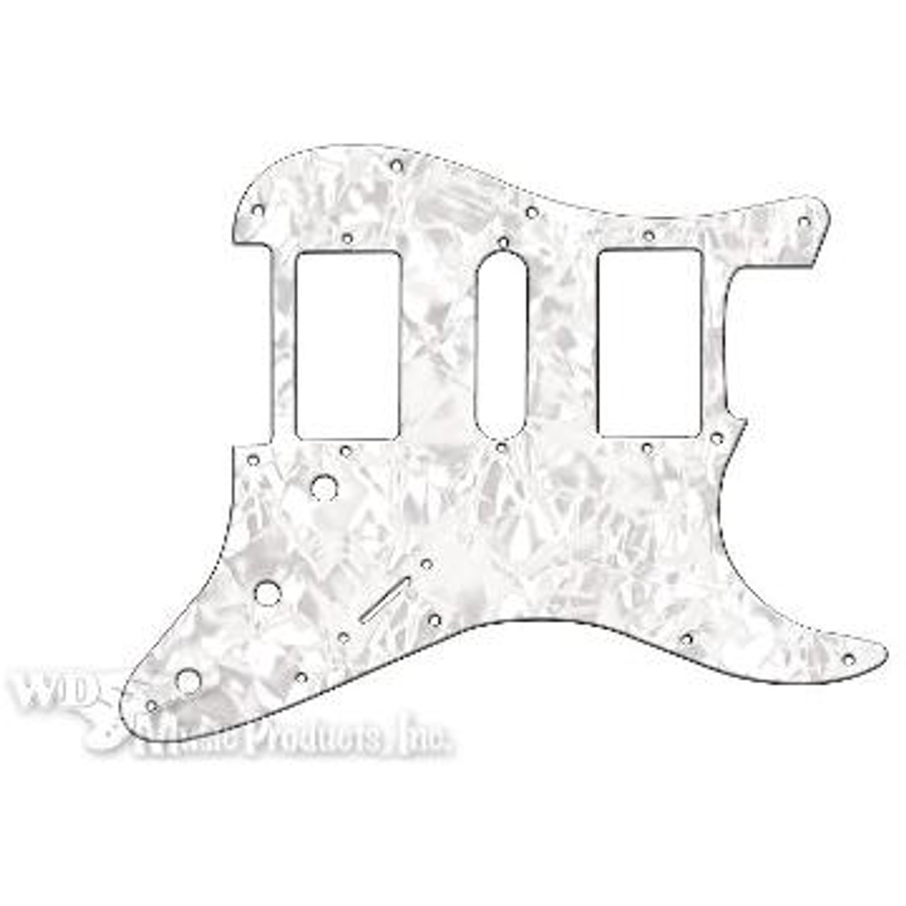 Strat Hum/Single/Hum Pickguard-3Ply White Pearl