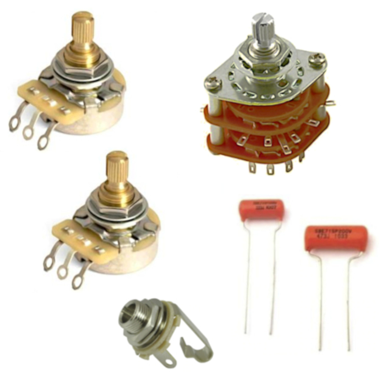5-Way Rotary Switch Guitar Electronics Kit w/ CTS Pro Pots-500K