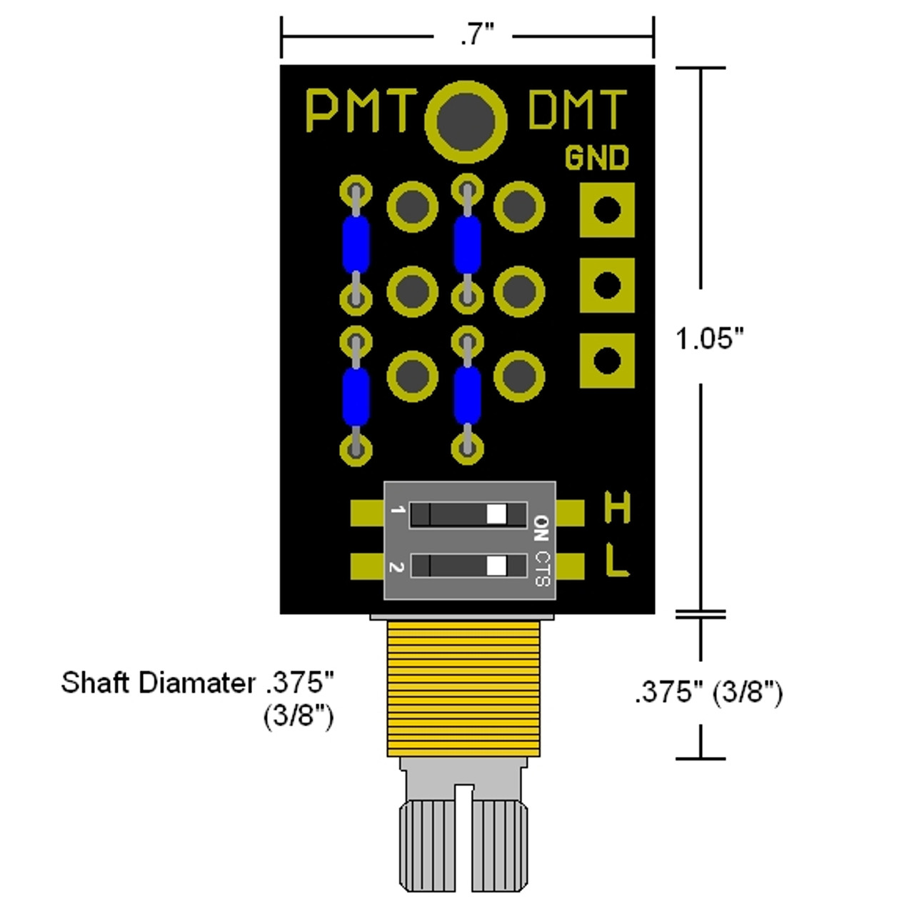 DMT Passive Dual Mode High & Low Pass Tone Control Dimensions