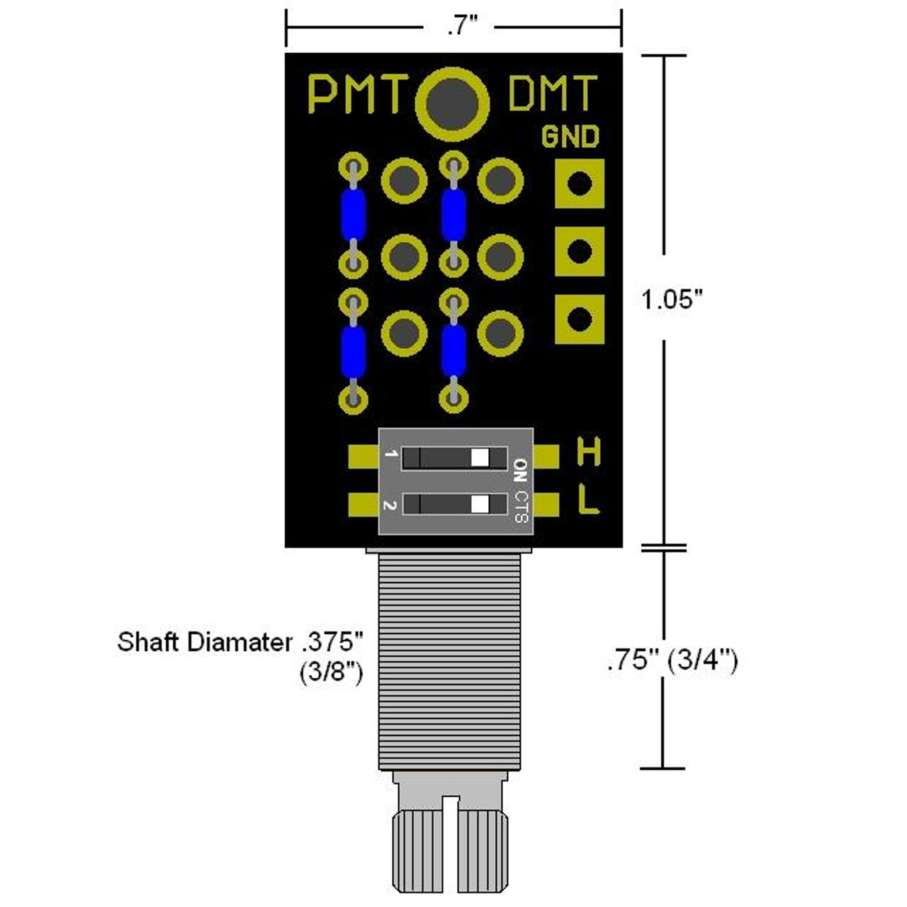 DMT Passive Dual Mode High & Low Pass Tone Control-Long Shaft Dimensions