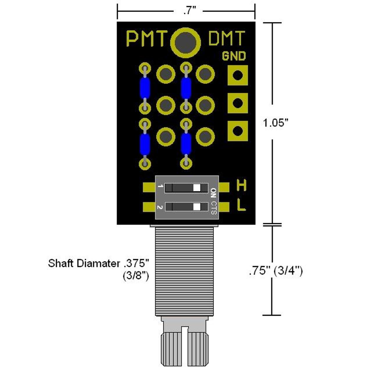 DMT Passive Dual Mode High & Low Pass Tone Control-Long Shaft Dimensions