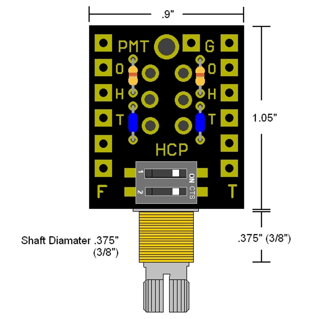 HCP Humbucker Control Pot w/ Coil Filters Dimensions