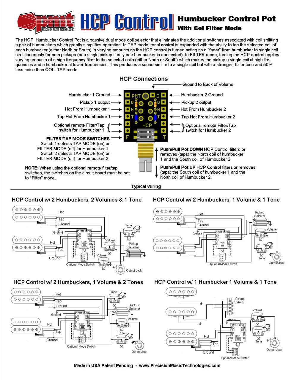 HCP Humbucker Control Pot w/ Coil Filters=Instructions