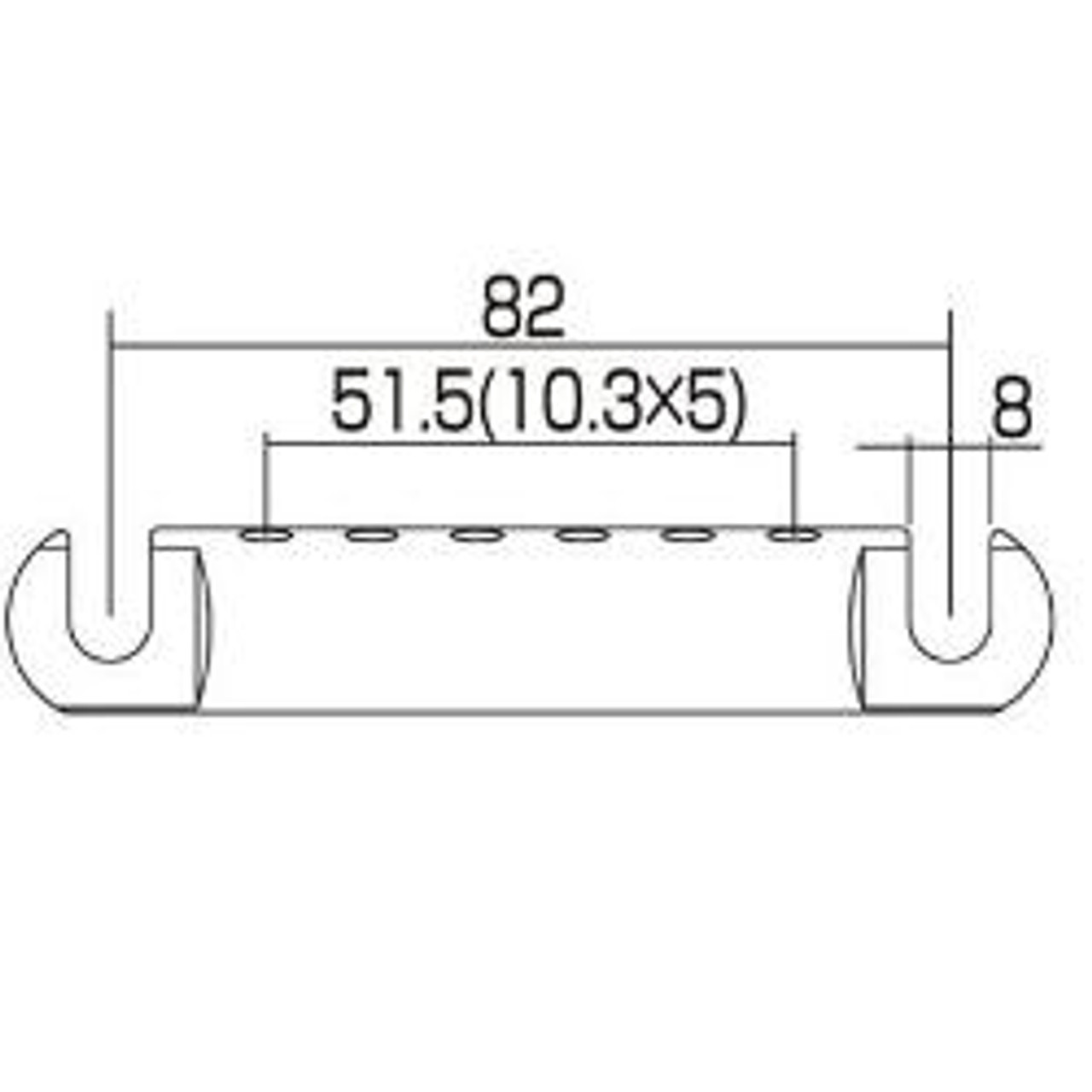 Stop Tailpiece w/ USA Thread Studs-Dimensions