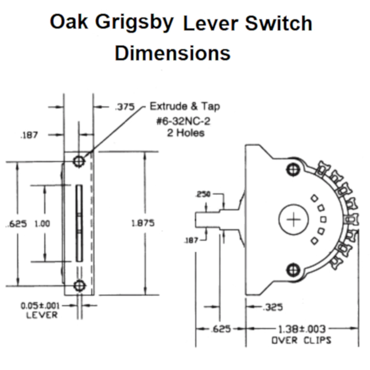 5-Way Guitar Lever Switch Dimensions-Oak Grigsby