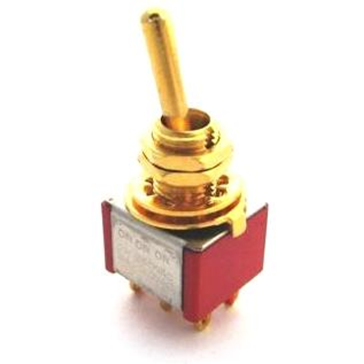 Double Pole ON/ON/ON Bat Handle Mini Switch - Gold