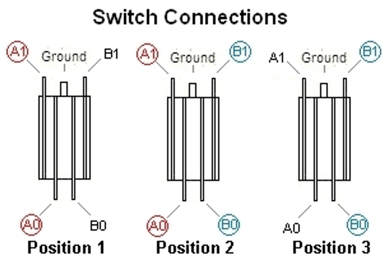 Switchcraft 3-Way Long Toggle Switch-Terminal Connections