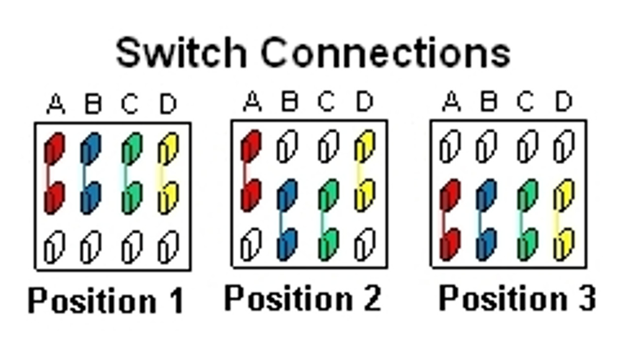 3-Way 4-Pole On/On/On Toggle Switch Terminal Connections