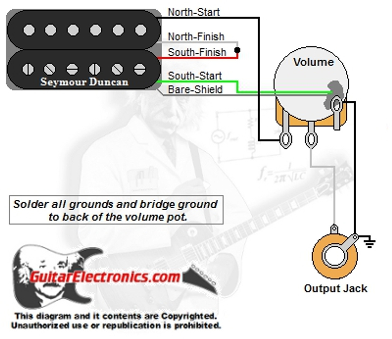 1 Humbucker/1 Volume | Guitar Wiring Diagrams 1 Pickup No Volume |  | Guitar Electronics