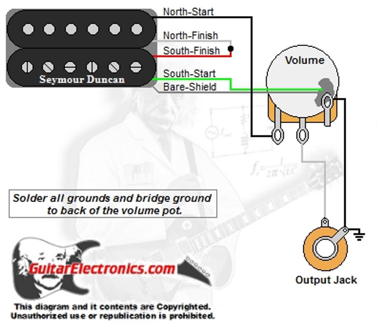 1 Humbucker/1 Volume | Guitar Wiring Diagram 1 Humbucker 1 Volume |  | Guitar Electronics