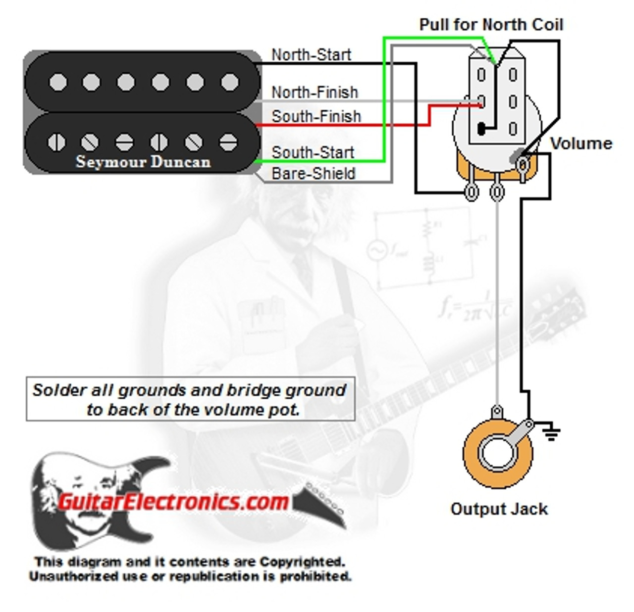 1 humbucker 1 volume pull for north single coil basic single humbucker wiring diagram single humbucker and volume wiring