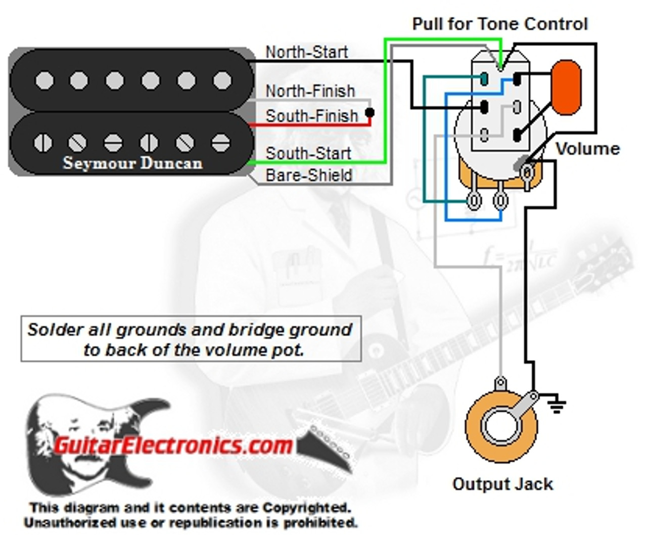 1 Humbucker/1 Volume/Pull for Tone | Guitar Wiring Diagrams 1 Pickup No Volume |  | Guitar Electronics
