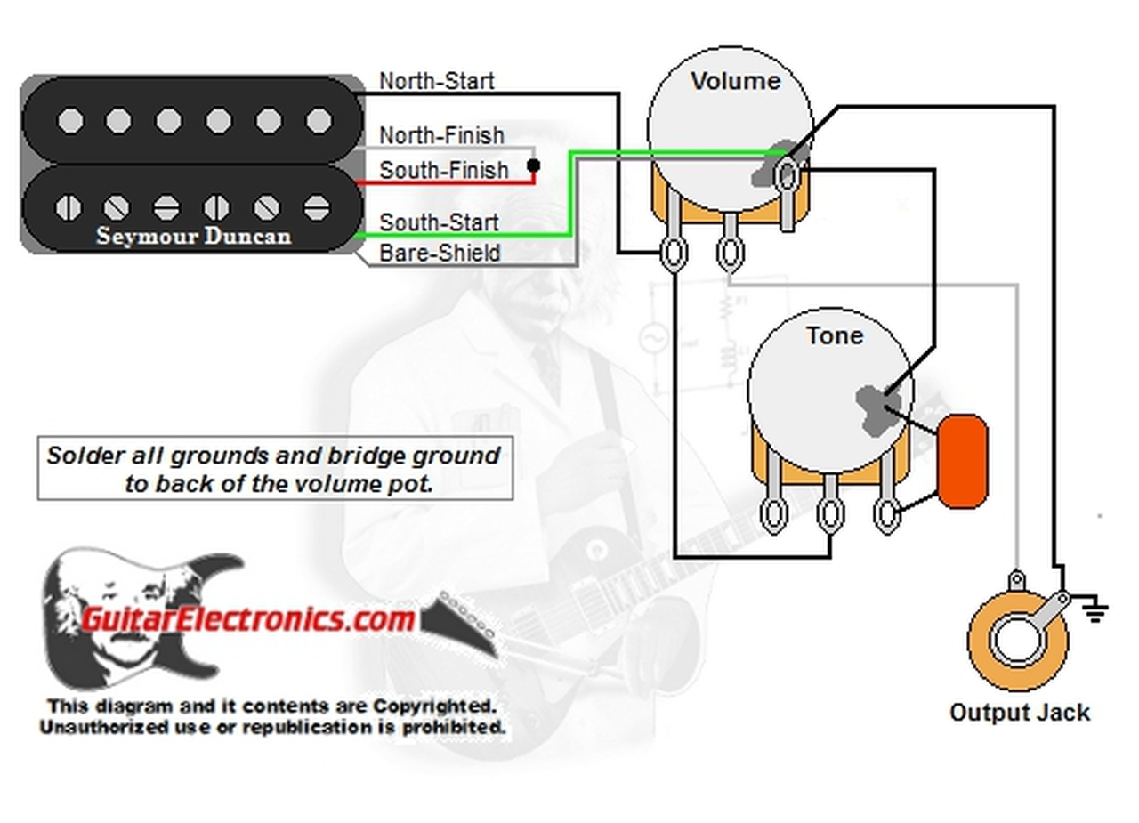 1 Humbucker/1 Volume/1 Tone | Guitar Wiring Diagrams 1 Pickup No Volume |  | Guitar Electronics