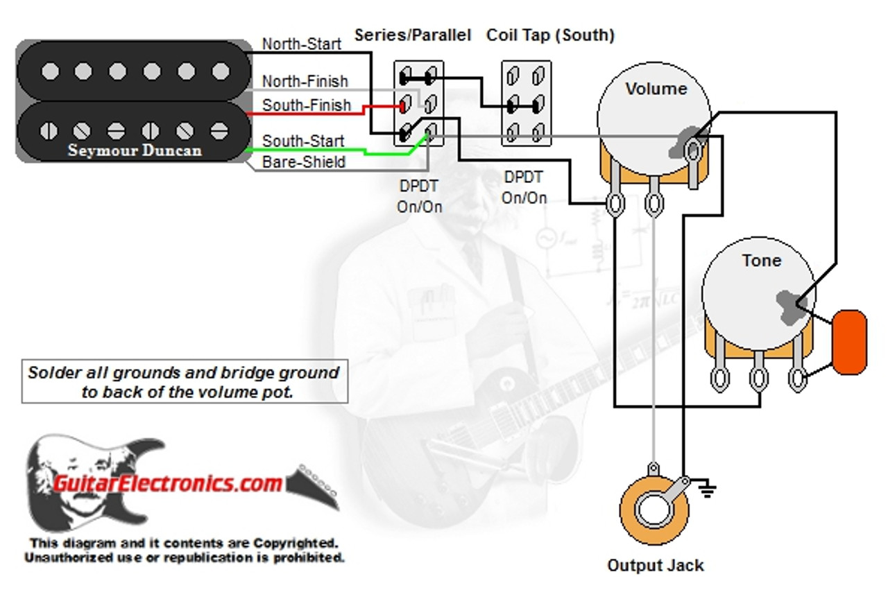 1 humbucker 1 volume 1 tone series parallel \u0026 coil tap south Guitar Push Pull Pot Wiring