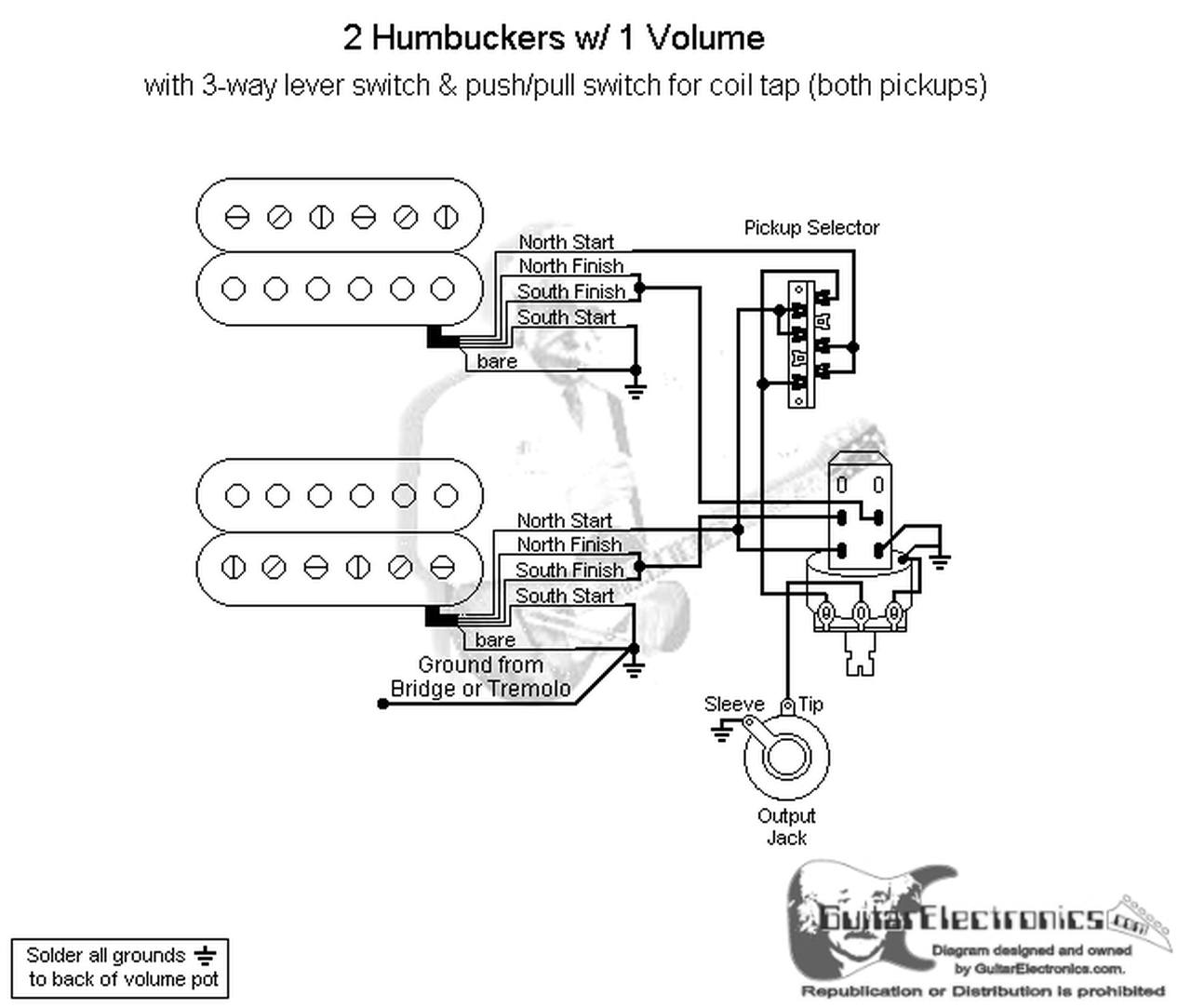 2 Humbuckers/3-Way Lever Switch/1 Volume/Coil Tap on switch circuit diagram, switch lights, network switch diagram, relay switch diagram, wall switch diagram, switch starter diagram, 3-way switch diagram, switch battery diagram, electrical outlets diagram, switch socket diagram, rocker switch diagram, switch outlets diagram,