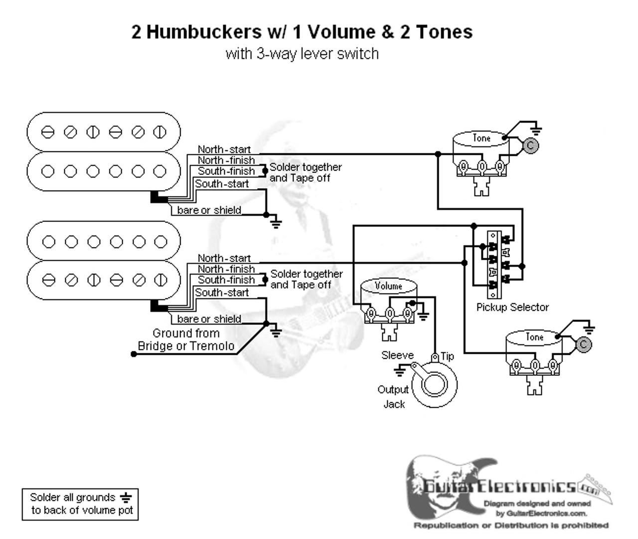 2 humbuckers 3 way lever switch 1 volume 2 tones Fender Electric Guitar Wiring Diagrams