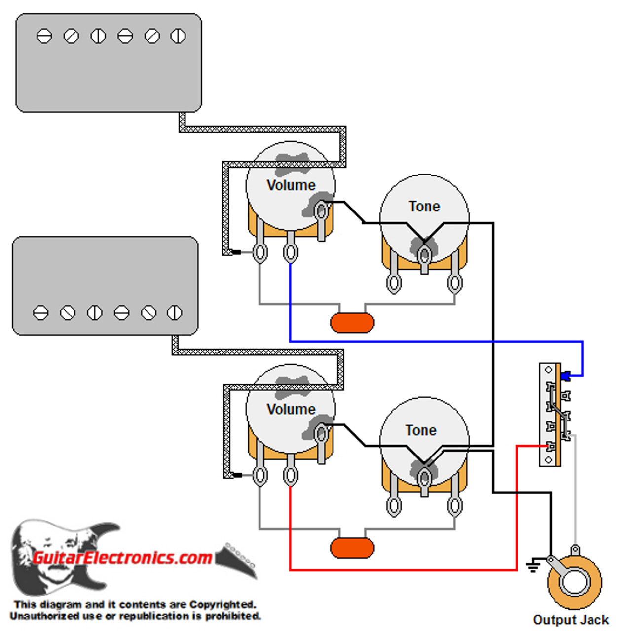 Guitar Wiring Diagram w/ 2 Humbuckers/3-Way Lever Switch/2 Volumes/2 Tones