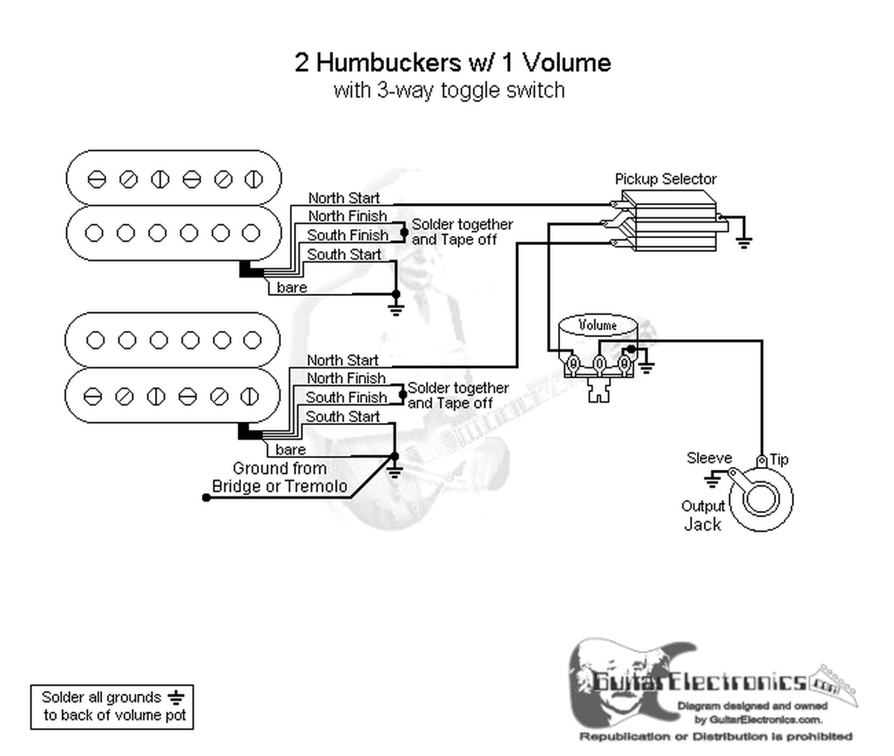 2 Humbuckers/3-Way Toggle Switch/1 Volume/Dual Coil Tap | Guitar Wiring Diagram Dual Humbuckers |  | Guitar Electronics
