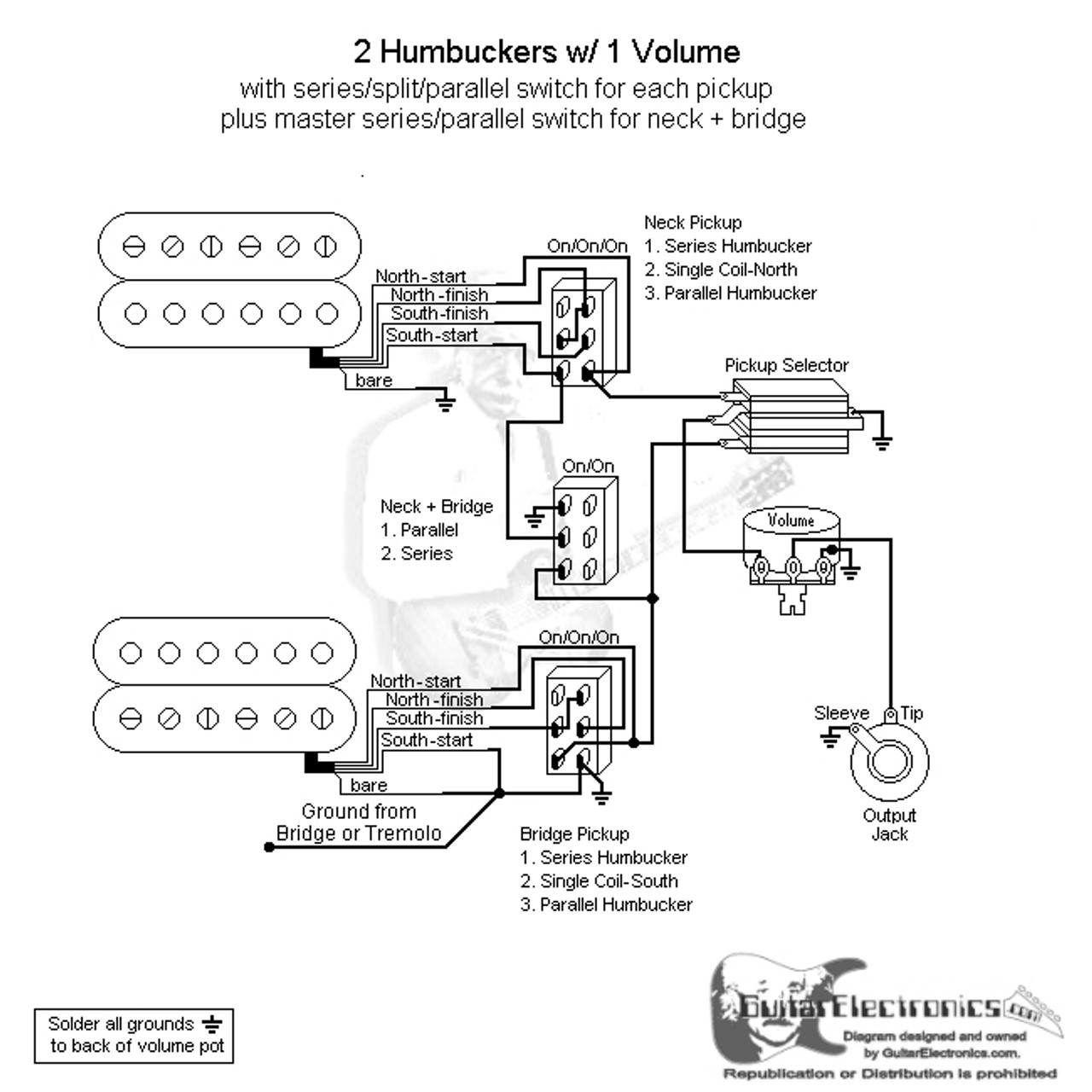 switch wiring diagram  2 hbs 3 way toggle 1 vol series split parallel  \u0026 master series parallel 3