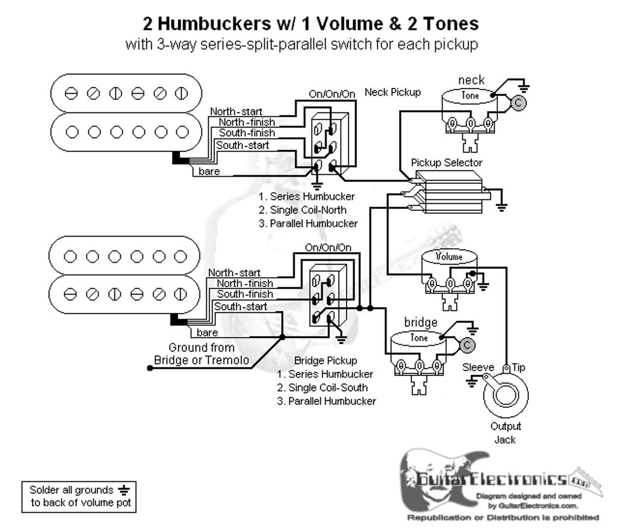 2 HBs/3-Way Toggle/1 Vol/2 Tones/Series-Split-Parallel