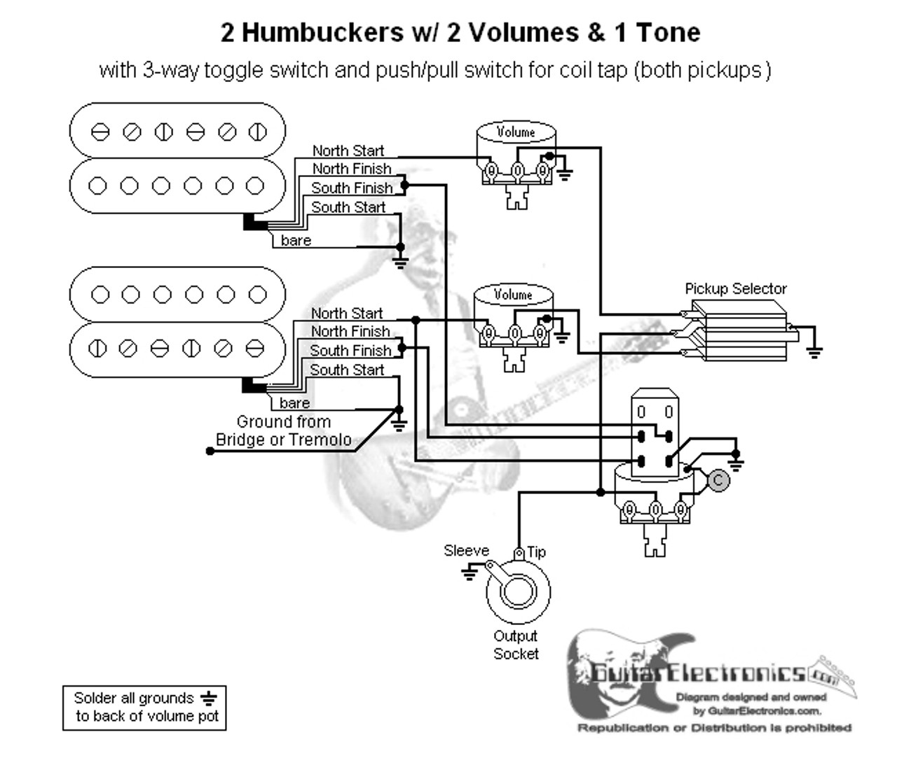 2 humbuckers 3 way toggle switch 2 volumes 1 tone coil tap