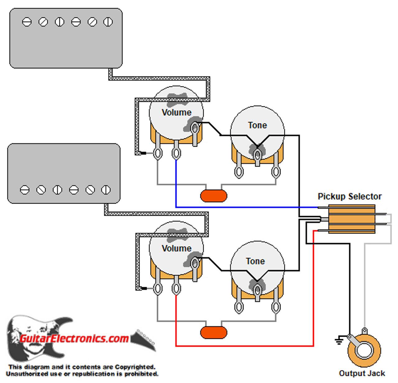 2 humbuckers 3 way toggle switch 2 volumes 2 tones Free Download Dual Humbucker Wiring Diagram