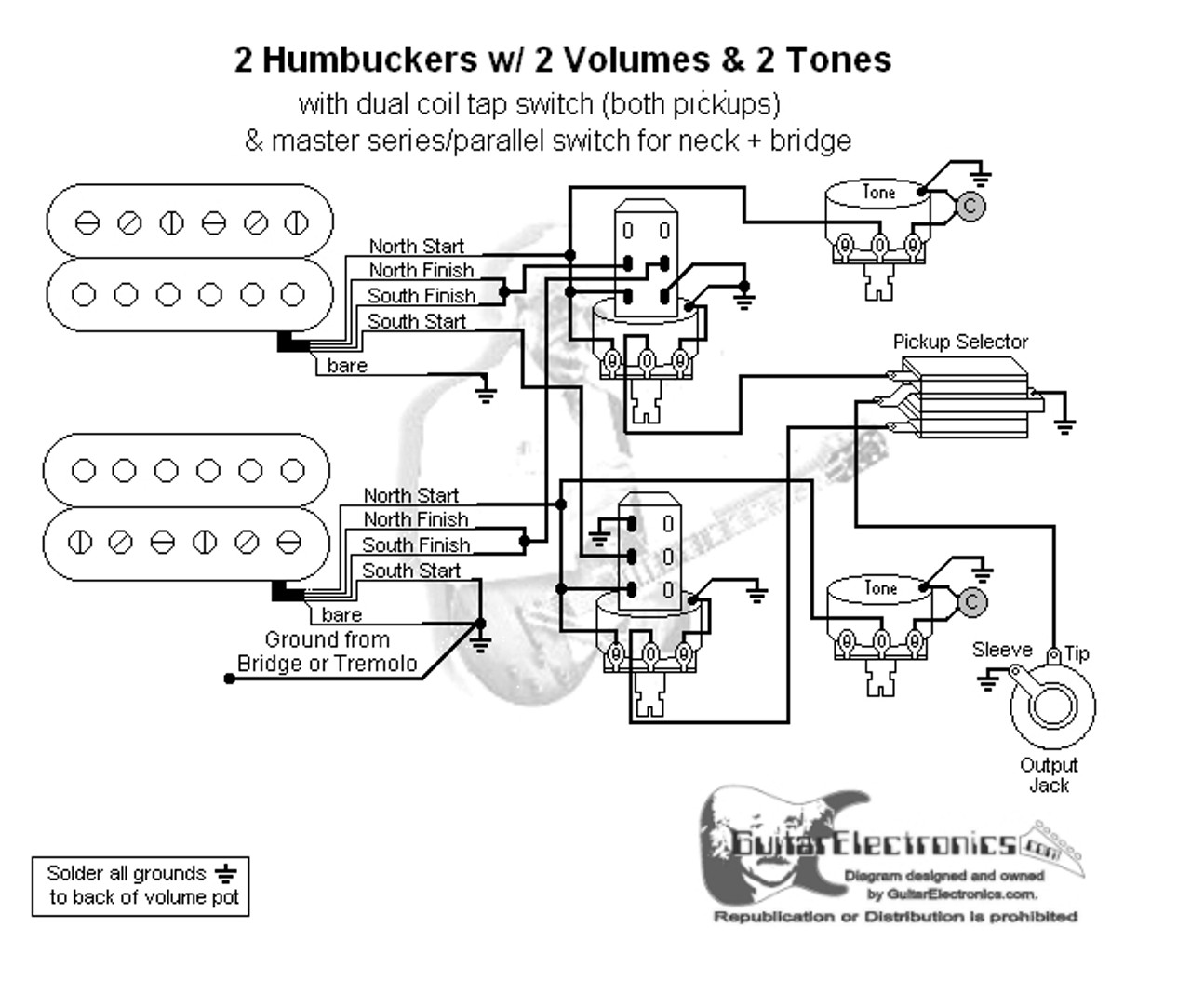 2 humbuckers 3 way toggle switch 2 volumes 2 tones coil tap \u0026 series parallel Push Pull Coil Tap Diagrams