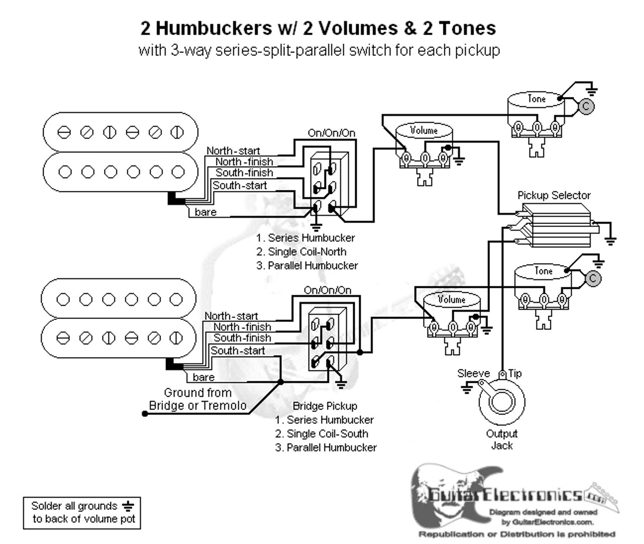 Humbuckers 3way Toggle Switch 1 Volume 2 Tones Series Parallel