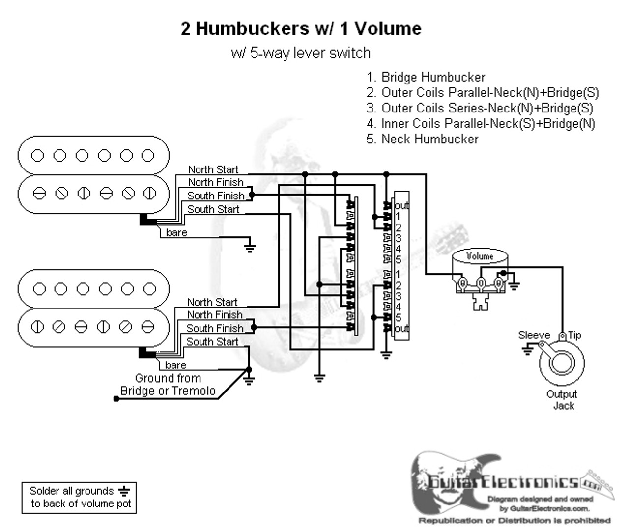2 Humbuckers 5 Way Lever Switch 1 Volume 06
