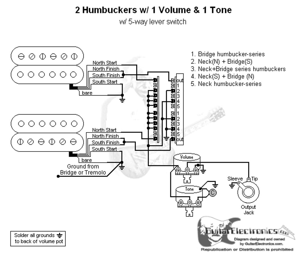 2 humbuckers 5 way lever switch 1 volume 1 tone 05 Fender 5 Way Switch Wiring Diagram 2 Humbuckers Fender 5 Way Switch Wiring Diagram 2 Humbuckers #5
