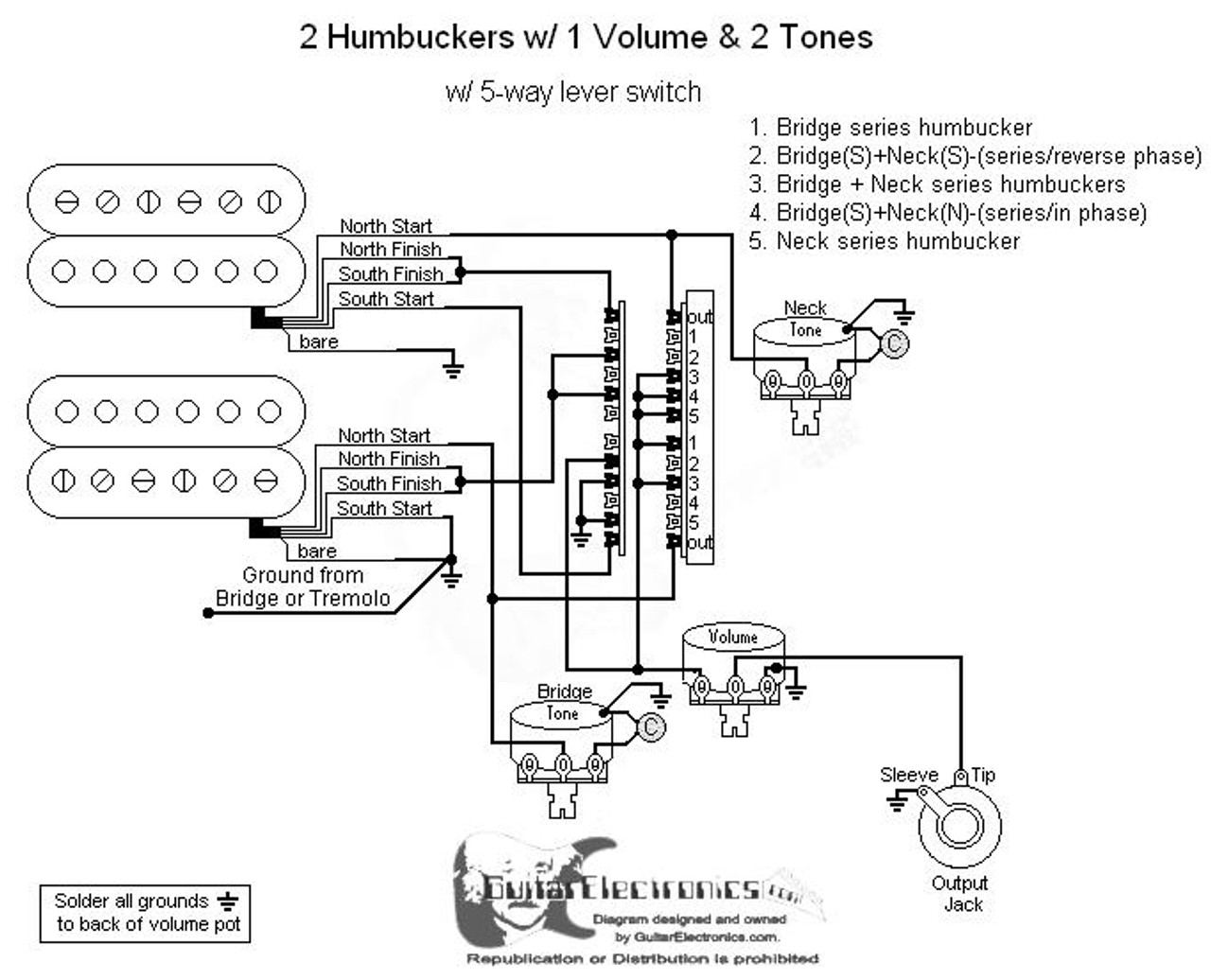 two humbucker w 1 volume and 2 tone 5 way switch wiring diagram Vintage Mini Humbucker Wiring Diagrams
